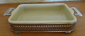 OLD Fire King OVEN GLASS Ivory baking dish w Silver Plated Handle Holder Server