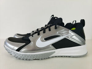 5fd3be9083493 Nike Huarache Turf Baseball Shoes 923435-015 Black Silver White Size ...