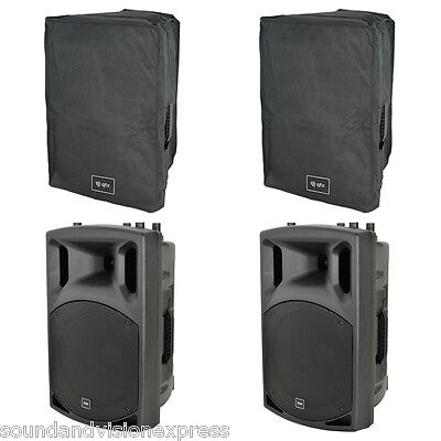 """2x QTX QX12A 12"""" 800W Active Powered Band PA Speaker or Monitor + Mixer + Covers"""