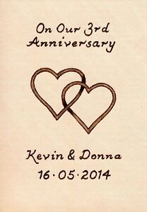 Personalised-3rd-Wedding-Anniversary-ACEO-Size-Leather-Entwined-Hearts-Design