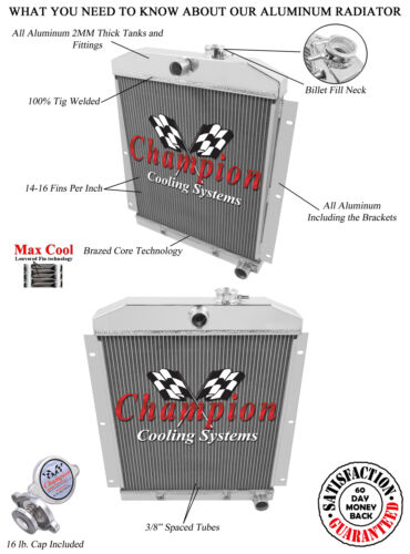 1947-1954 Chevy Truck Champion Cooling 2 Row All Aluminum Radiator
