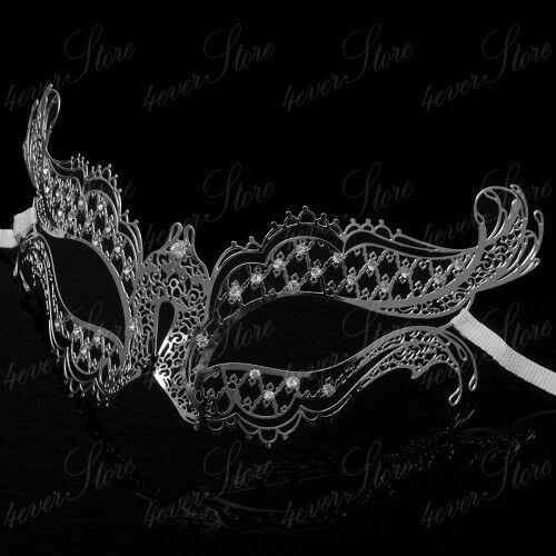 Filigree Metal Venetian Masquerade Mask Silver Womens Collection One Size