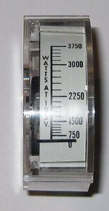"Panel Mount 3750 Watt Analog Wattmeter - 125 V AC - Clear Case - 1.83"" x .755"""