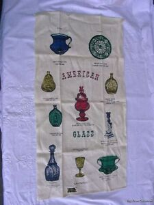 Vtg-Linen-Tea-Towel-Dish-Cloth-KayDee-Unused-Kay-Dee-American-Art-Glass-US-Made