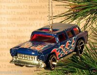 1955 Chevy Nomad '55 Station Wagon Christmas Ornament Blue/red W Flames Xmas