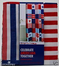 Celebrate Americana Patchwork Stars Red White Blue Fabric Shower Curtain  70x70