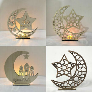 Wooden-LED-Eid-Mubarak-Plaque-Moon-Star-Ramadan-Ornament-Muslim-Decor-Pendant