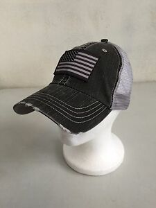 Image is loading Vintage-Style-Distressed-Trucker-Hat-with-American-Flag- 289d649b214