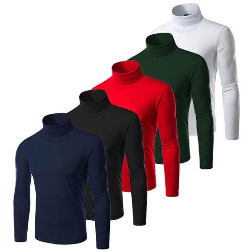 Mens Warm Shirt Long Sleeve Turtleneck Undershirt Tee Tops Blouse Casual Jumper