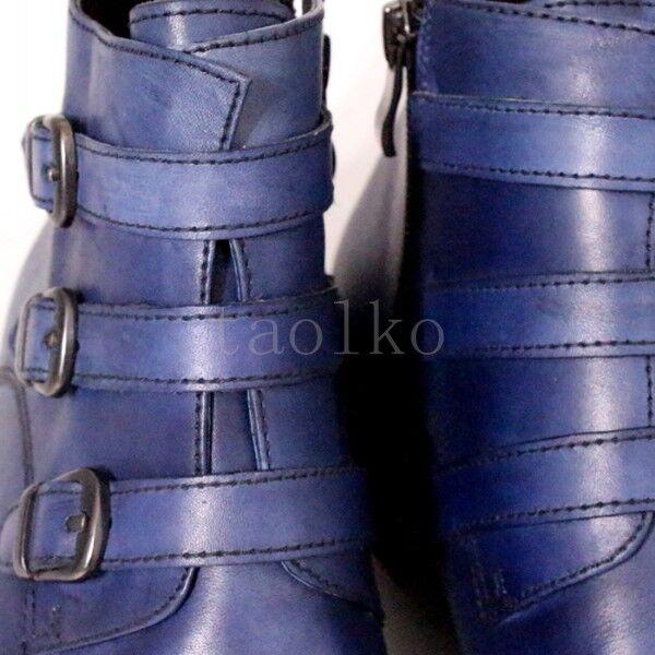 Hebilla de cremalleras laterales de cuero hombre genuino para hombre cuero de negocios Formal Fiesta Zapatos Talla Oxford 845805