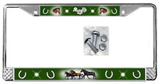 Horses Dark Green Backdrop License Plate Frame Gifts Polished Metal-Screws TXT