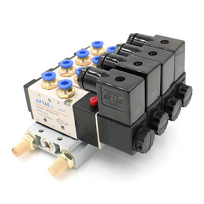 DC 12V Single Head 2 Position 5 Way 4 Pneumatic Solenoid Valve with Base