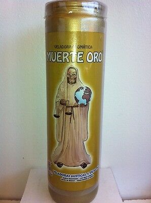 HOLY DEATH (SANTA MUERTE ORO) GOLD COLOR PREPARED 7 DAY CANDLE IN GLASS |  eBay