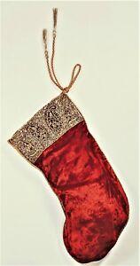 Vtg SUDHA NEIMAN MARCUS Christmas Stocking Red Velvet Gold ...