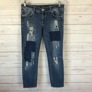 Premiere-Rue-21-Women-Low-Rise-Skinny-Crop-Jeans-5-6-Destroyed-Holes-Frayed-Hem