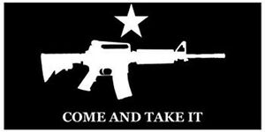 COME-AND-TAKE-IT-Assault-Rifle-Star-Black-Background-Vinyl-BUMPER-STICKER-Decal