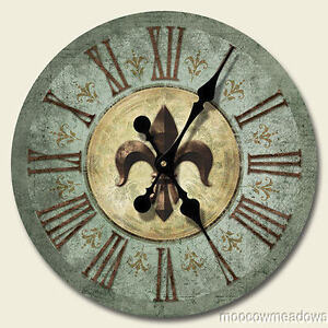 Fleur De Lis Wall Decor new fleur-de-lis clock french bourbon st wall decor art green