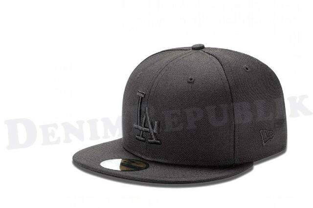New Era 5950 LA LOS ANGELES DODGERS MLB Baseball Cap Fitted Hat Black on Black