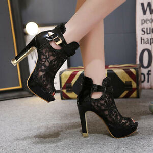749f3541898 Women s Platform Stiletto High Heels Shoes Peep Toe Ankle Boots ...