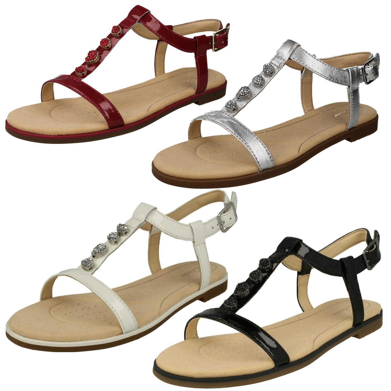 Clarks da donna pelle piatto con fibbia Open Toe Sandali Gladiatore Estivi BAIA