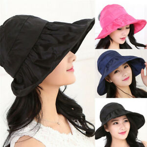 1bec9824 Women's Anti-UV Fashion Hats Wide Brim Summer Beach Cotton Sun Hat ...