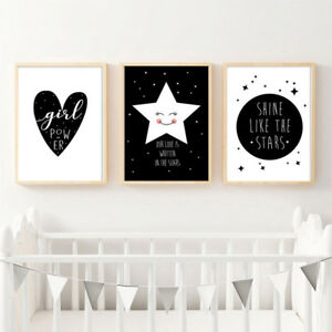 Details About Black White Canvas Poster Nursery Wall Art Print Baby Kids Bedroom Decoration