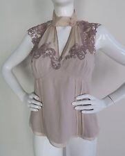 New KAREN MILLEN Sleeveless Embroidery Blouse in Beige Size 8 US Size 12 UK