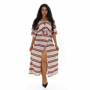 Womens-Wrap-Long-Dress-Large-Chevron-Flare-Belt-Short-Sleeved-Casual-Everyday