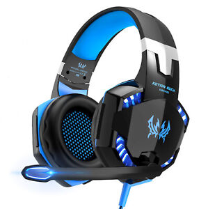gaming kopfh rer mit mikrofon led headset f r pc laptop ps4 xbox one 360 ebay. Black Bedroom Furniture Sets. Home Design Ideas