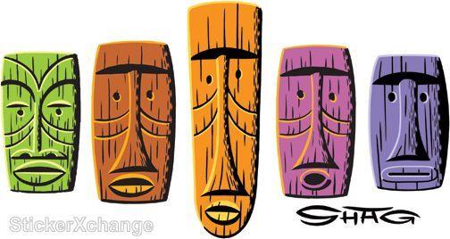 5 Tiki Masks STICKER Decal Shag Hawaiian Art SH100
