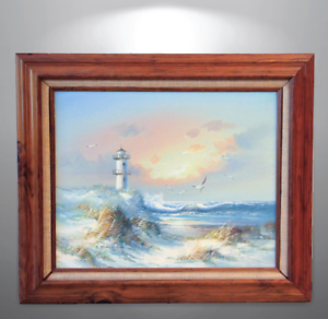 Details about Vintage Oil Painting Listed Artist J  Judy Thompson  Lighthouse Seascape Art