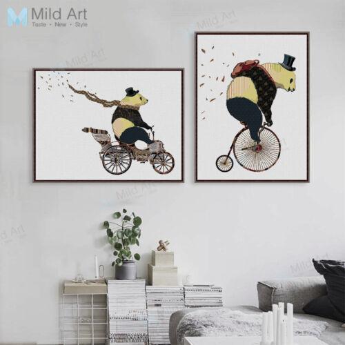 Vintage Panda Bicycle A4 Poster Prints Home Decor Wall Art Bike Canvas Painting