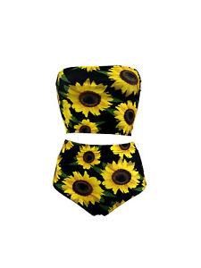 Sunflower Floral Vintage Retro Sunset Bandeau Top Bikni Bottom Co-ord Swimwear