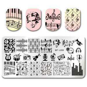 BORN-PRETTY-Nail-Art-Stamp-Plate-Image-Template-DIY-Music-Design-BPL-59