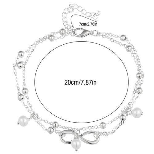 Femmes Bracelet 925 Sterling Silver dames cheville pied chaîne Boho perles