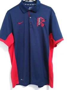 Men-039-s-Size-Large-Nike-Dri-Fit-Eagles-Football-Logo-Blue-Red-Active-Polo-Shirt