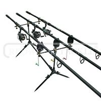 Complete Carp 3 Rod Set Up /reels & Line/pod/alarms & Box Of Fishing Accessories