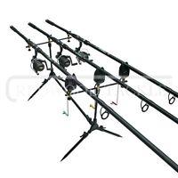 Carp Fishing 3 Rod Set Up /reels & Line/pod/alarms & Box Of Carp Accessories