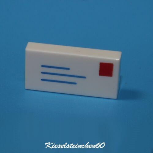 3069bp01 LEGO®  Fliese 1x2 weiß bedruckt  Brief Letter  NEUWARE