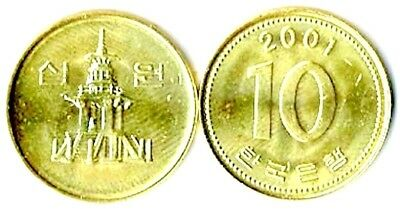 35 South Korea Brass 10 Won Coins KM33 Uncirculated Set Temple 1983 to 2003