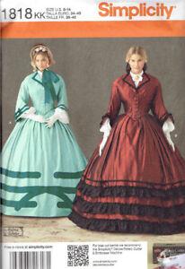 Civil-War-Era-Costume-Misses-size-8-14-Simplicity-1818-Sewing-Pattern