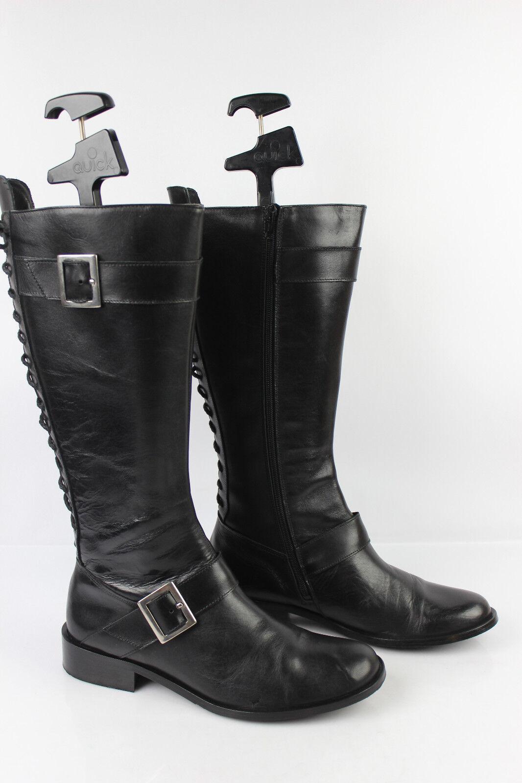 Stiefel Schnürsenkel TEXTO schwarzes Leder t 41 seht guter Zustand