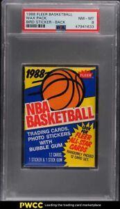 1988 Fleer Basketball Wax Pack Larry Bird Sticker BACK PSA 8 NM-MT