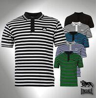 Mens Branded Lonsdale Striped Polo Shirt Short Sleeve Top Size S M L XL XXL XXXL