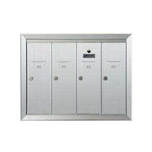 Florence-Mailbox-4-Compartment-Recess-Mount-Reusable-Aluminum-Locking-Silver