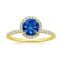 Natural 1.65 Ct Blue Sapphire Gemstone Rings Solid 14K Yellow Gold Diamond Rings
