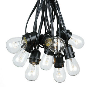 100 Foot S14 Outdoor Globe String Lights - Set of 50 Clear S14 Edison Bulbs eBay