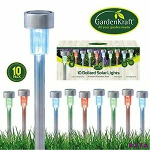 ASAB 10x Solar Powered LED Post Lights Stainless Steel Garden Outdoor Lighting