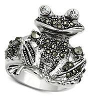 Frog With Clear Stones Eye Silver Rhodium Ep Ladies Ring