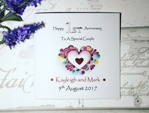 Details about Happy 1st Wedding anniversary handmade card - paper  anniversary- special couple